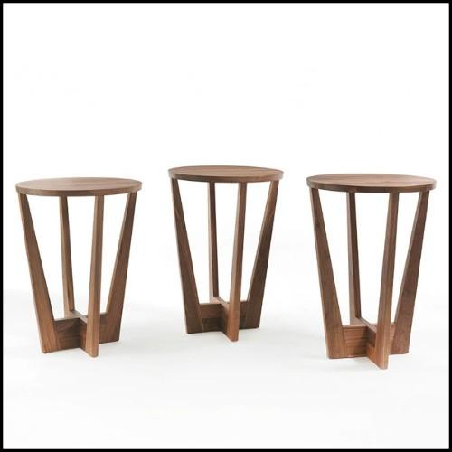 Canapé rond en teck couleur naturelle avec tissu sunbrella taupe et écru 70-Cocoon