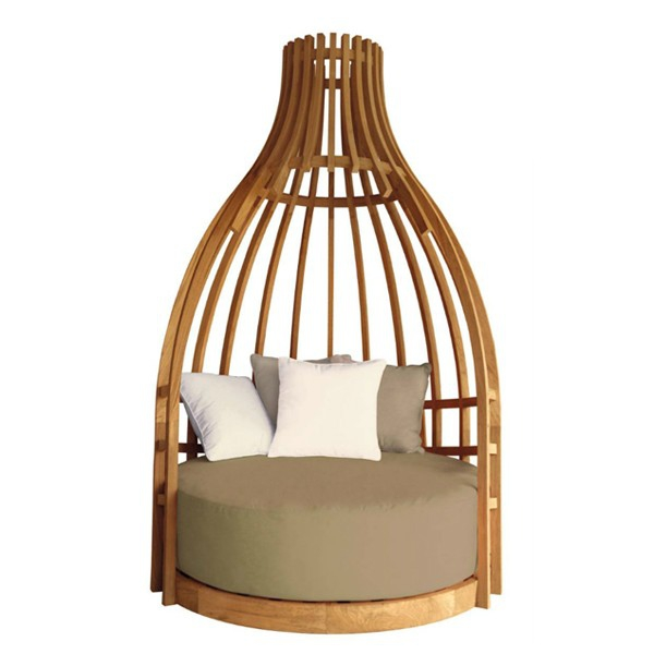 canap rond en teck couleur naturelle avec tissu sunbrella taupe et cru 70 cocoon pacific. Black Bedroom Furniture Sets. Home Design Ideas