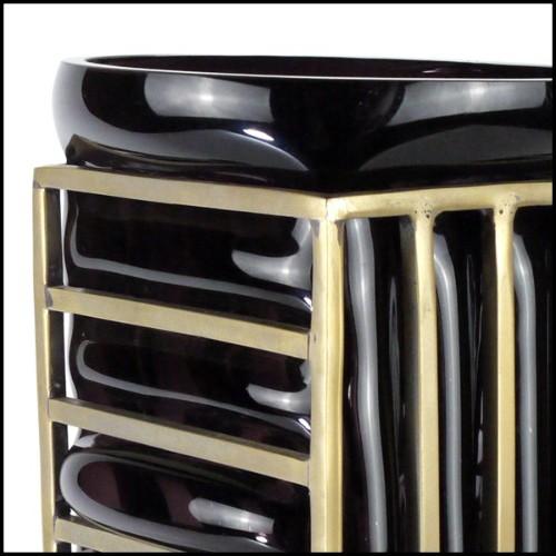 lampadaire avec tronc en teck et abat-jour en coton blanc avec diffuseur 70-Mahoni