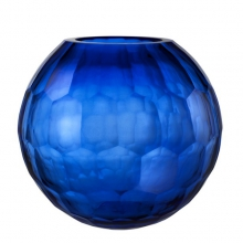 Vase with blue hand cut glass 24-Feeza L