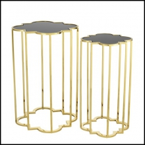 Tables d'appoint jeu de 2 avec finition or et verre noir 24-Clover