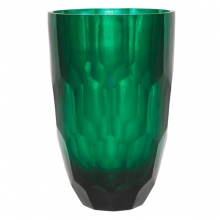 Vase with emerald green hand cut glass 24-Mughal L