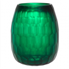 Vase with hand cut glass 24-Emeraude