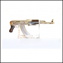 Assault Rifle AK-47 Silver finish Authentic limited edition piece PC-AK-47 Silver