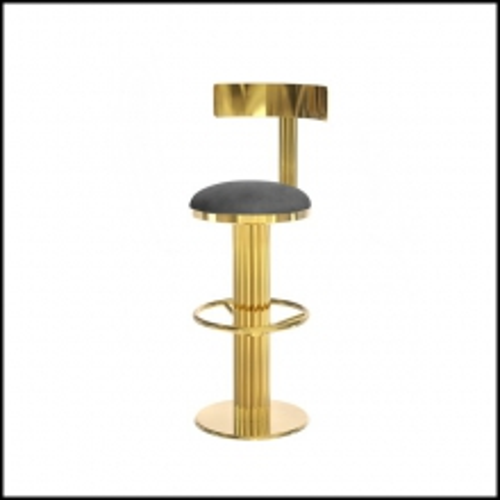Tabouret de Bar en laiton poli finition gold et assise en cuir naturel véritable 151-Casablanca
