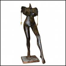 Sculpture woman with cock head on base handmade in bronze 19-Femme à tête de coq