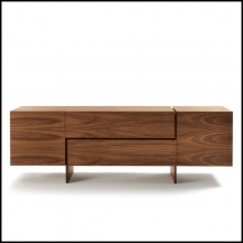 Sideboard multilayer in walnut with Two central drawers and two side door 154-Multilayer Walnut Wood