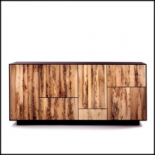 Sideboard modular in massive natural walnut with five doors and four drawers 154-Modular