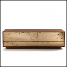 Buffet Lowboard en noyer massif naturel avec six tiroirs 154-Brico Wood Lowboard