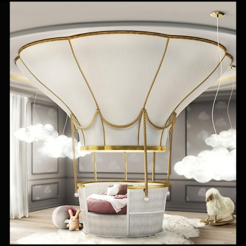 Lit Pour Enfant Montgolfière Structure En Bois Blanc Pour Chambre Du0027enfant  PC Fantasy Air Baloon   Pacific Compagnie