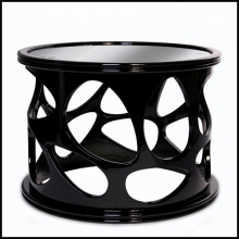 Side table Archi in black lacquered mahogany top with polished black glass lacquered 145-Archi