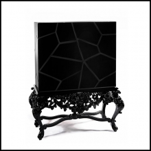 Cabinet Queen is baroque inspired piece with a carved base in mahogany 145-Queen