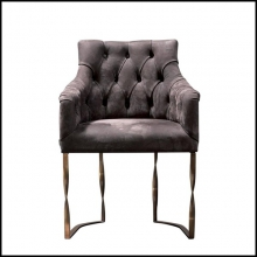 Chaise tapissée en cuir véritable Cat C avec structure en bronze 150-Katawa