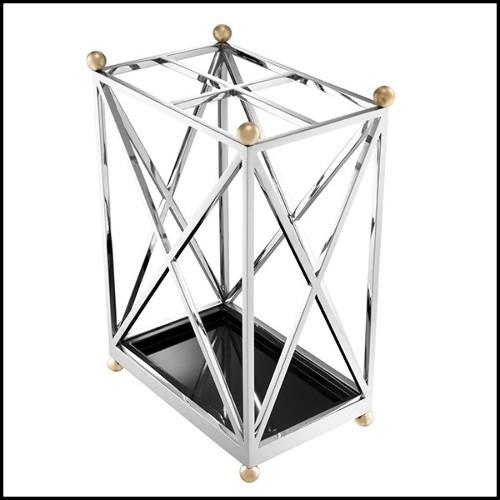 Table d'appoint en acier inoxydable et plateau en marbre 150-Arnold
