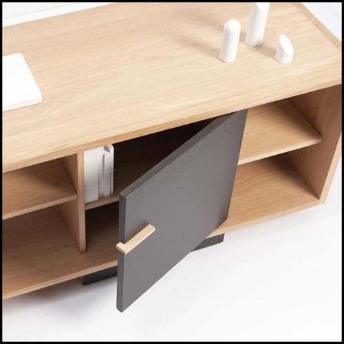 Table en acajou massif et revêtement placage fin acajou massif vernis brillant détails laiton poli 145-Majestic