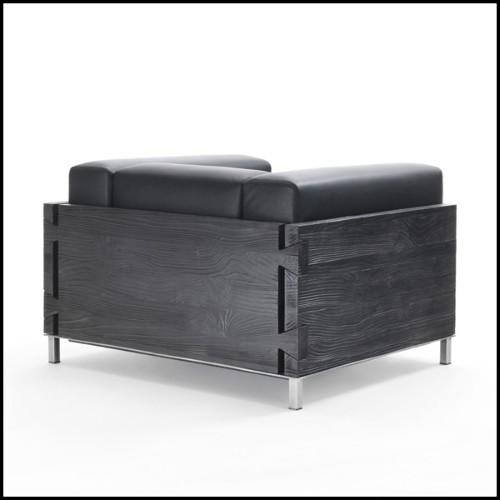 Table basse en acajou massif couvert avec acier inoxydable poli et intérieur en laiton finition gold 145-Paradise