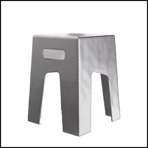 Set de deux tables basses avec structure en bois finition en cuivre martelé fait main 145-Dalia