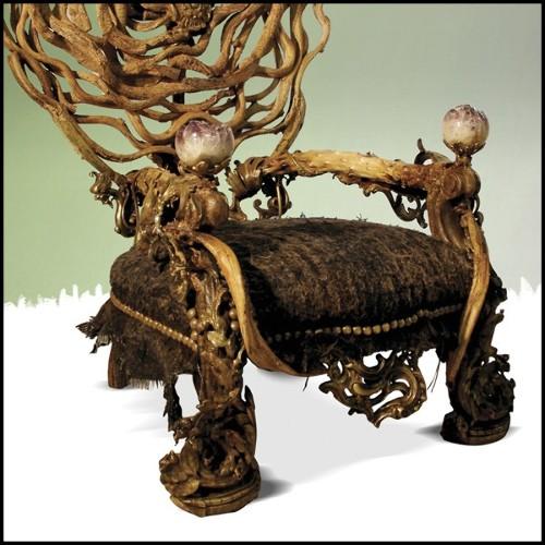 Canapé 2 places en velours vert base et dos en laiton martelé haute brillance 155-Natural Green