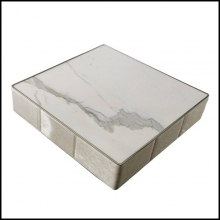 Coffee Table with Marble Top and Quilted Structure 150-Walter B