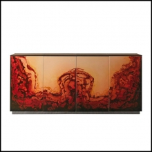 Sideboard Polished Lacquered and Top with Leather Category B 150-Fusion
