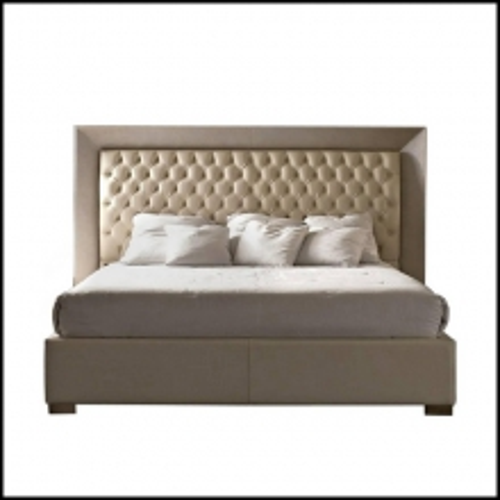Lit avec structure et tête de lit tapissé en cuir véritable 150-Kany