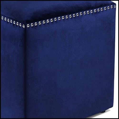 Tabouret de bar avec structure en chêne laqué noir et assise en velours 155-Myla