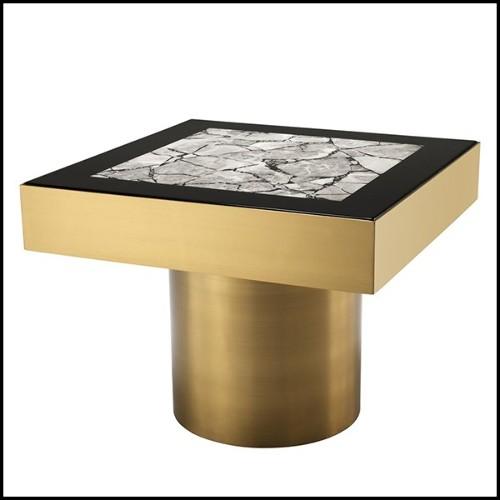 Table d'appoint en acier inoxydable avec plateau en verre brown avec garniture dorée et plateau plaqué or pur 157-United