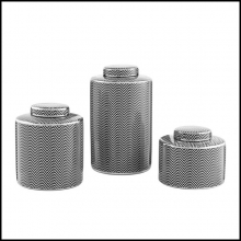 Set of three vases in black and white ceramic with silver grafical color 24-Gambetta set of 3