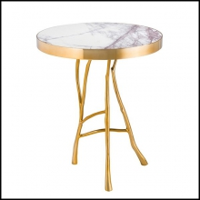 Side table with marble top on gold finish structure 24-Veritas