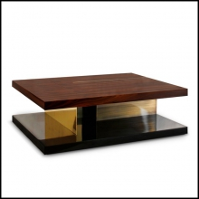 Coffee Table with high glossy lacquer finish brass and wood veneer 155-Chloe