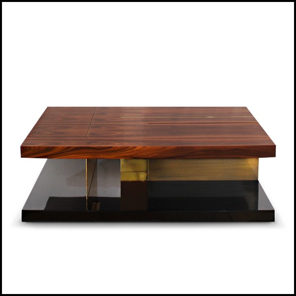 Coffee Table With High Glossy Lacquer Finish Brass And Wood Veneer