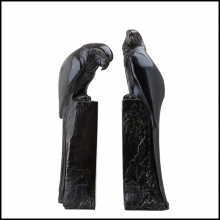 Set of two book-ends in solid bronze with patina finish 24-Perroquet