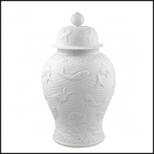 Vase in white relief ceramic with Japanese fishes 24-Voltaire