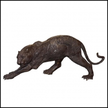Sculpture in solid black bronze hand-carved piece 38-Black Panther