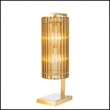Lampe de salon en nickel finition gold et verre clair 24-Claudia