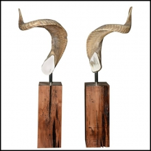 Set of two real Aries horns on noble wood base PC-Aries Horns