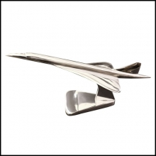 Model Supersonic Concorde aircraft in polished aluminium on base PC-Concorde