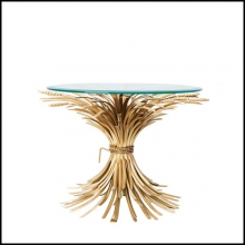 Table d'appoint finition antique Gold avec plateau en verre clair biseauté 24-Bonheur 70cm