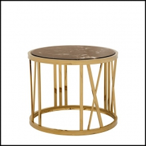 Table d'appoint avec structure finition Gold composée d'une base en chiffres romains et plateau en marbre 24-Baccarat