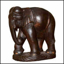 Sculpture d'elephant en bois noble d'Indonesie 38-Elephant Wood