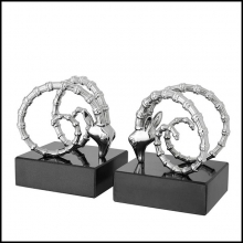 Serres-livres set de 2 finition nickel sur base en granite noir 24-Ibex