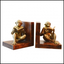 Set de 2 serres-livres en bronze sculptés à la main PC-Monkeys Readers