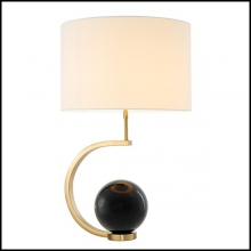 Lampe à poser avec sphere en marbre noir ou en marbre blanc avec base finition Gold 24-Black Marble Sphere