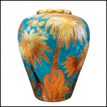 Jar blue and gold Emaux de Longwy from France limited edition PC-Jungle Dream