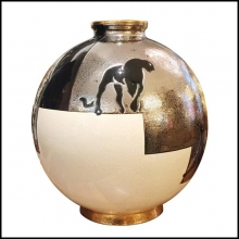 Vase black silver and white Emaux de Longwy from France PC-Black Panther
