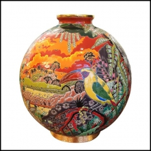 Vase colorful Emaux de Longwy from France exceptional piece in limited edition PC-Toucan