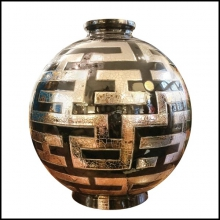 Vase black and silver Emaux de Longwy from France PC-Labyrinth