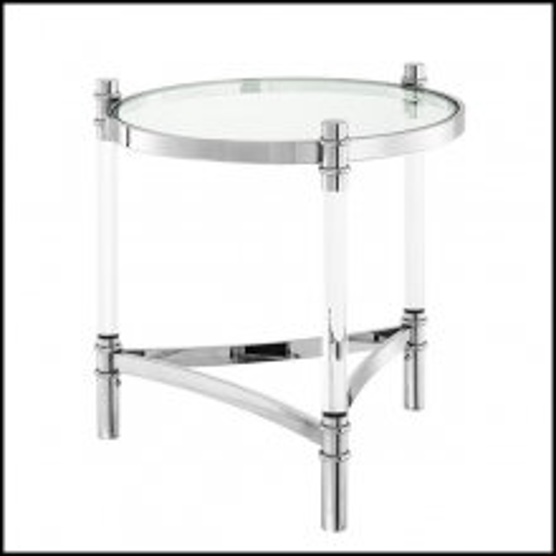 Table d'appoint avec structure en acier inoxydable poli et plateau en verre clair 24-Tertio