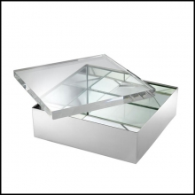 Jewelery Box in polished nickel finish and clear glass top 24-Brook