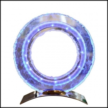 Clock in Baccarat Crystal sanded and polished with LED diodes white and blue PC-Blue Baccarat Medium